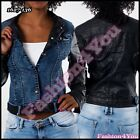 Sexy Womens Denim Jacket Ladies Leather Look Jacket Size 8,10,12,14 UK New