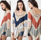 Fashion Women Lace Crochet Long Sleeve T Shirt Lady Sexy Loose Casual Top Blouse