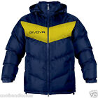 Givova Podio Winter Warm Jacket Football Men S M L XL Removable Hood Navy Yellow