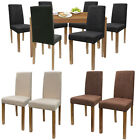 SET 2 4 6 8 HIGH BACK FAUX SUEDE DINING ROOM CHAIRS BLACK BROWN IVORY OAK LEGS