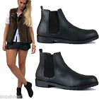 WOMENS LADIES BLACK FLAT CHELSEA PIXIE LOW HEEL PULL ON ANKLE BOOTS SHOES SIZE