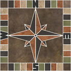 Multicolor Porcelain Tile Square Compass Rose Mosaic Medallion CHOOSE YOUR SIZE