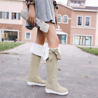 Women's Winter Snow Long Boots Pull On Round Toe Flat Heel Over the Knee Boots