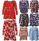 LONG SLEEVE CHRISTMAS SANTA HATS SNOWMAN PENGUIN XMAS GIFTS PRINT SWING DRESSES
