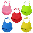 Washable Soft Silicone Baby Bibs Eating  Pinafore Adjustable Pocket Food Catcher