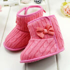 Cute Kids Baby Girl Faux Fleece Knit Bowknot Snow Boot 3-18M Warm Wool Shoes UK