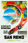 Vintage Italian Motor Racing Poster San Remo Ospedaletti 1940s Wall Art Riviera
