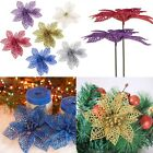 "6"" Colourful Christmas Flowers Xmas Tree Decoration Glitter Hollow Wedding Party"