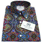 Relco Mens Platinum Multi Paisley Long Sleeved Button Down Shirt Mod Skin 60s