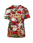 Santa Claus Father Christmas Print Men's T Shirt Crew Neck Short Sleeve Fitted
