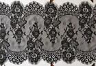 3mts of wide lace trim, double scallop with eyelash edges 34cm black or white
