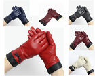 Ladies Womens Soft Genuine Leather Winter Gloves With Bow Fur Lining
