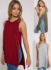 New Ladies High Split Side Long Top Women Midi Jersey Slit Tunic Sleeveless Vest