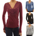 Women's Fashionable Sexy Lace Casual V Neck Tops Blouse Tee Jumpers T-Shirts