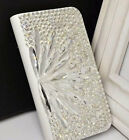 For Mobile Phone Sparkly Clear Feather Crystals Wallet Leather Slot Cards Case