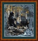 BLACK BEARS - PDF/PRINTED X STITCH CHART 14/18 CT ARTWORK © STEVEN GARDNER