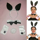 Bunny Kit Ears, Collar, Cuffs, Tail Black White or Black Pink