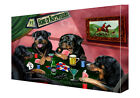 Rottweiler Dogs Poker Art Wrapped Canvas Wall Hanging Décor NWT