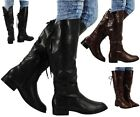 NEW WOMENS LADIES FAUX LEATHER LACE UP MID CALF LOW HEEL RIDING BOOTS SHOES SIZE