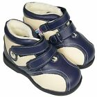 Freycoo Boys Toddler Kids Infant REAL Leather Ankle Boots -  Blue & Cream Fleecy