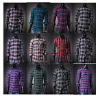 New Mens Summer SHIRT Check 100% COTTON Flannel Vintage Long Sleeve S M L XL