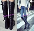GOTH RETRAO WOMEN LADIES BUCKLE SIDE ZIPPER KNEE HIGH BOOTS BLOCK LOW HEEL SHOES