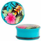 Hawaiian Flower Plugs - Acrylic - Single Flared - Pair 2G - 1""