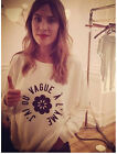 Fashion Bloggers Alexa Chung Flower Word Motif Leisure Top Sweatershirt Hoodie