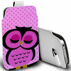 pu leather pull tab pouch case for various Mobiles - sleepy pink owl pouch