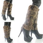 NEW WOMENS LADIES MID CALF FAUX FUR  LINED LONG WINTER  BOOTS SIZE 4 5 6 7 8