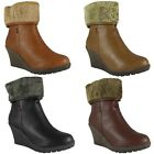 WOMENS LADIES FAUX LEATHER ZIP LOW MID HEEL WEDGE HIGH ANKLE BOOTS SHOES SIZE