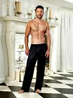 MENS CHARMEUSE DRAWSTRING BLACK LOUNGE PANT S-2X
