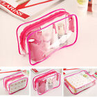 PVC Clear Pouch Bathing Toiletry Zipper Cosmetic Bag Rose Red With 3 Size BLS