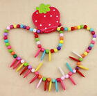 Baby Kids Lovely Fun Wood Bead Necklace Bracelet Jewelery Sets Cute Necklace