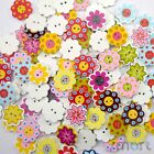 10/50/200/500pcs Mixed Bulk Flower Wood Buttons Lot 20MM Craft Sewing Card