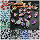 7*12mm Water Drop Rhinestones Sew On Flatback Crystal Glass Strass Chatons 200ps