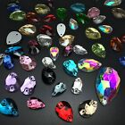 Mixed Sizes&Colors Water Drop Rhinestones Sew On Flatback Crystal Glass 2 Holes