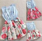 Moden Toddler Kids Girl Party Dress Demin Floral Print Bow Sleeveless Skirt Hot