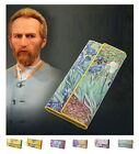 Women Leather Wallet Van Gogh Oil Painting Purse Retro Credit Card Mobile Holder