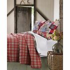 BEAUTIFUL REVERSIBLE PLAID COUNTRY BEAR LOG CABIN WESTERN LODGE RED QUILT SET