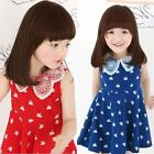 New Kids Toddlers Girls Peter Pan Lace Collar Swan Tmage  Dress 2-7 Y D206