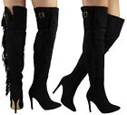 SALE! WOMENS LADIES THIGH HIGH HEEL OVER THE KNEE LONG TASSLE BOOTS SHOES SIZE