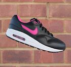 Nike Air Max 1 GS Junior/Women's Black/Vivid Pink/White NEW! Size UK 3 4 5 6