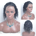 Full Lace Human Hair Wigs Curly 1# Jet Black Short 6A Grade For Black Women