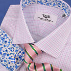 Pink Blue Striped Formal Business Dress Shirt Luxury Egyptian Cotton Formal Wear