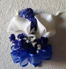 Royal Blue Real Touch Calla Lily Babys Breath Corsage