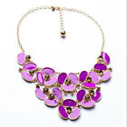 Women Necklace Resin Crystal Flower Bib Gold Plated Collar Chain Jewerly