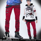 punk Visual heavy metal Leopard smoky Dyed SKINNY jeans GA127 red