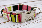 Designer Dog Puppy Collar - All Sizes - Pink, Lime & Black Stripe - Exclusive
