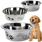 STAINLESS STEEL METAL DOG PET BOWL PUPPY ANIMAL FOOD WATER SMALL MEDIUM LARGE